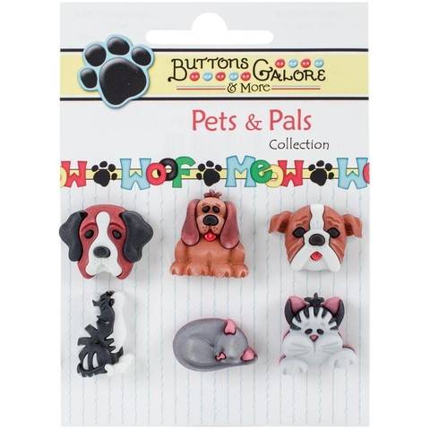 Botones decorativos Raining Cats & Dogs Button Galore