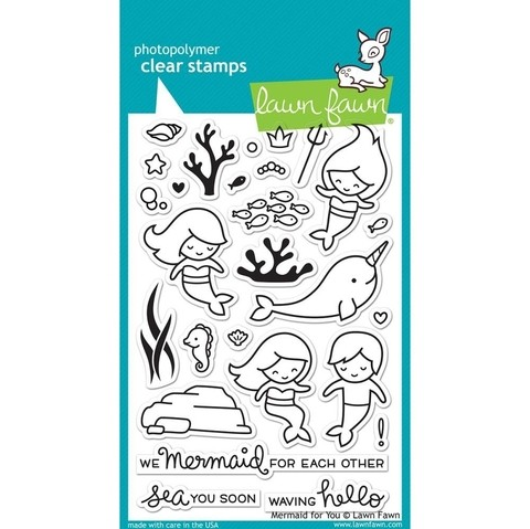 Kit de Sellos y Troqueles Mermaid For You Clear Stamp Lawn Fawn