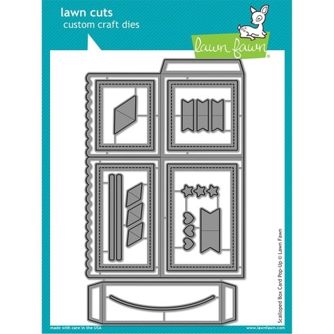 Troqueles para armar tarjeta Scalloped Box Card Pop Up Lawn Fawn