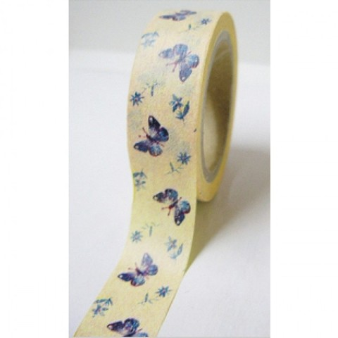 Cinta Decorativa Washi Tape Mariposas azules fondo amarillo II