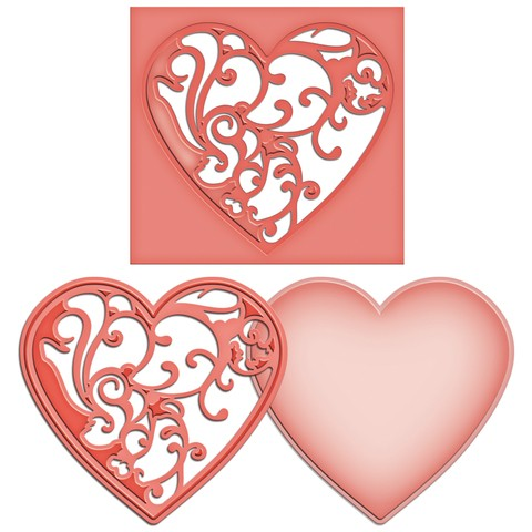 Set de 2 Troqueladoras de Corazón Vines of Passion Decorado Spellbinders