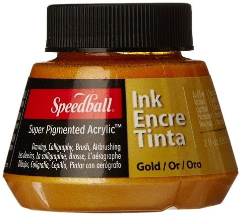 TINTA DORADA SUPER PIGMENTADA SPEEDBALL ACRYLIC INK 59.2 ml
