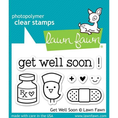 Kit de troqueladora y sellos Get Well Soon Clear Stamp Lawn Fawn