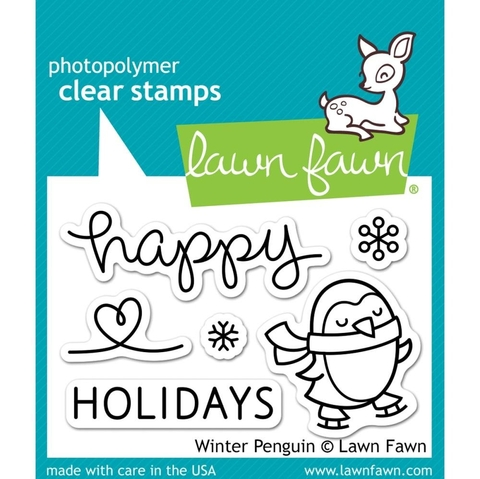 Kit de troqueladora y Sellos Pinguino Invernal Clear Stamp Lawn Fawn
