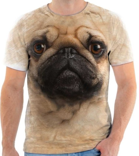 Camisa Camiseta 3D Animal Cachorro Dog Cão Pug