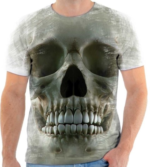 Camisa Camiseta 3D Caveira Skull Cranio Estilo The Mountain