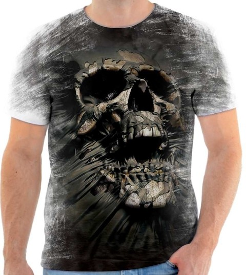 Camisa Camiseta 3D Caveira Skull Ghost Estilo The Mountain
