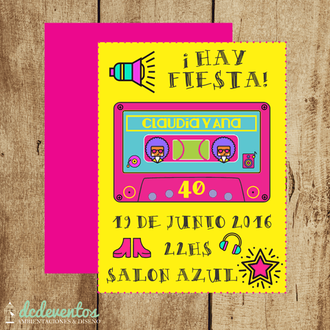 Invitación retro disco - 14.x10cm