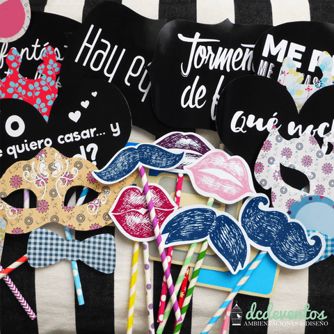 Kit 25 accesorios vintage photobooth con palitos de colores - comprar online