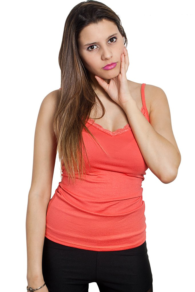 9/582 Syes teen, Musculosa crepe escote puntilla, Talle M