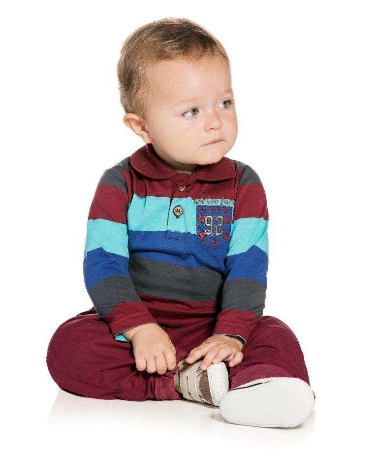 Conjunto Bebê Polo Listrada e Calça Sarja Confort - Masculino ´ Linha Premium ´