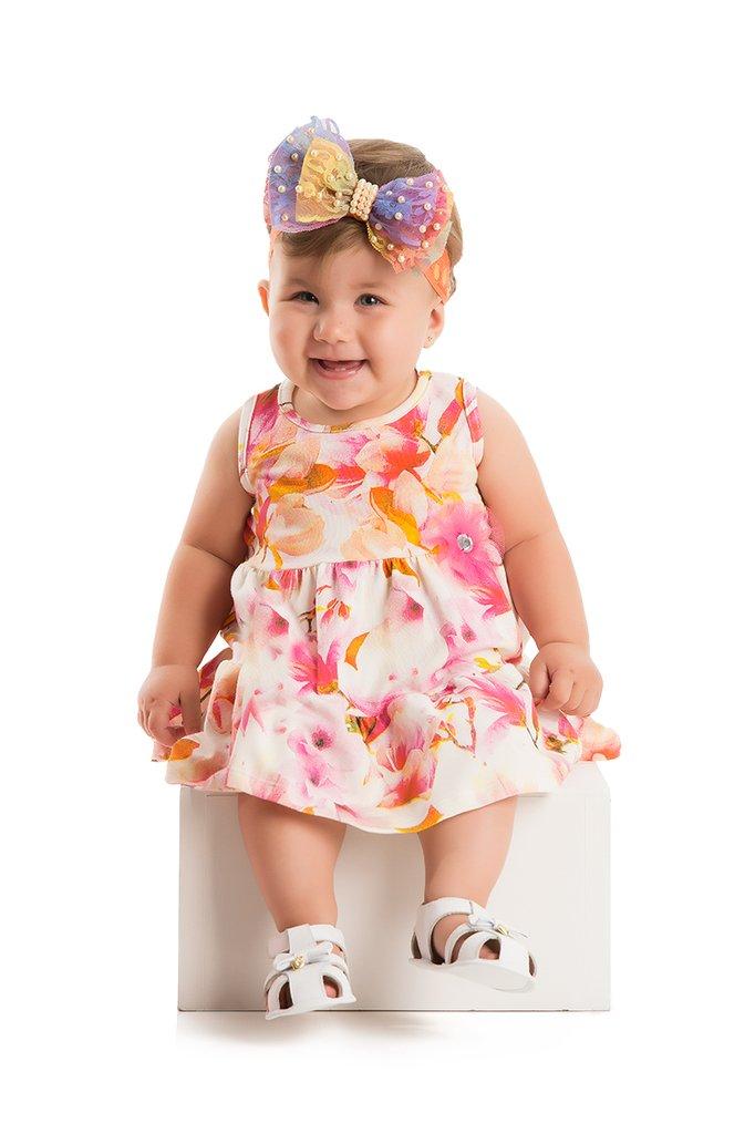 Vestido Regata Meia Malha Floral Aquarela com Strass
