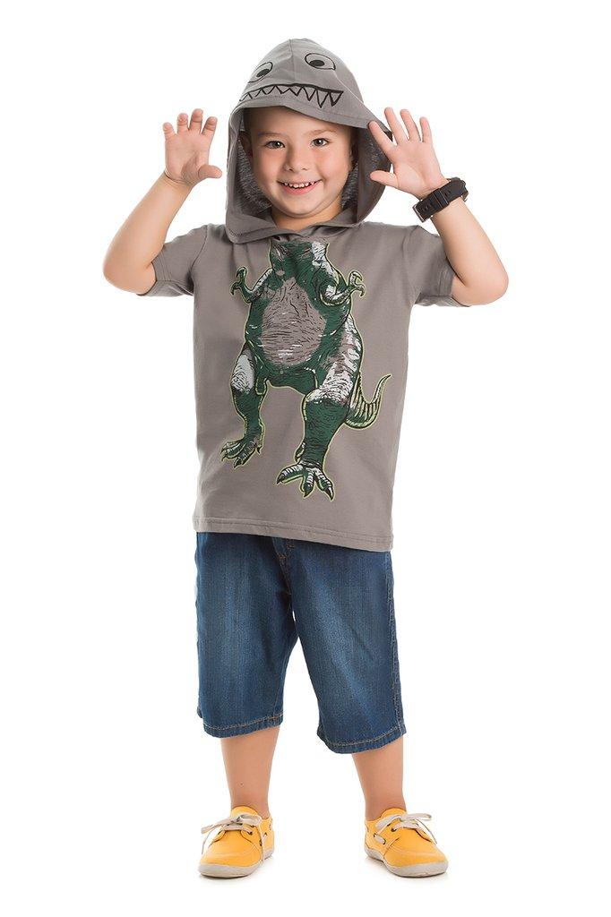 Camiseta Masculina com Capuz - Dinossauro brilha no escuro