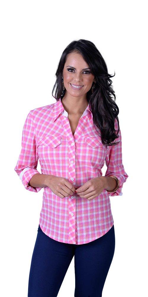 Camisa xadrez com lapela