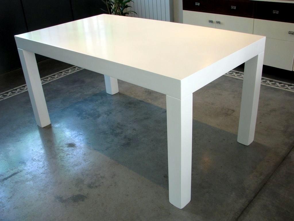 Mesa asia x laca poliuret nica for Mesas de cocina blancas