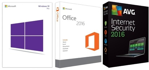 Super Promoção 87% OFF, Windows 10 Pro, Office 2016 Professional Plus e AVG Internet Security 2016 1 PC 1 ANO