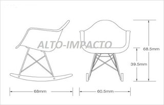 Imagen de Silla Sillon Mecedora Rocking Chair Charles Eames All Black