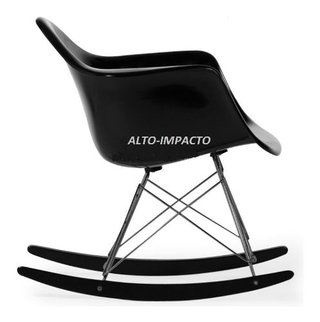 Silla Sillon Mecedora Rocking Chair Charles Eames All Black - tienda online