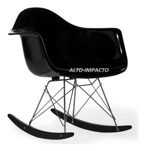 Silla Sillon Mecedora Rocking Chair Charles Eames All Black