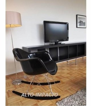 Silla Sillon Mecedora Rocking Chair Charles Eames All Black - ALTO IMPACTO Home + Office