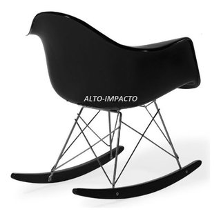 Silla Sillon Mecedora Rocking Chair Charles Eames All Black - comprar online