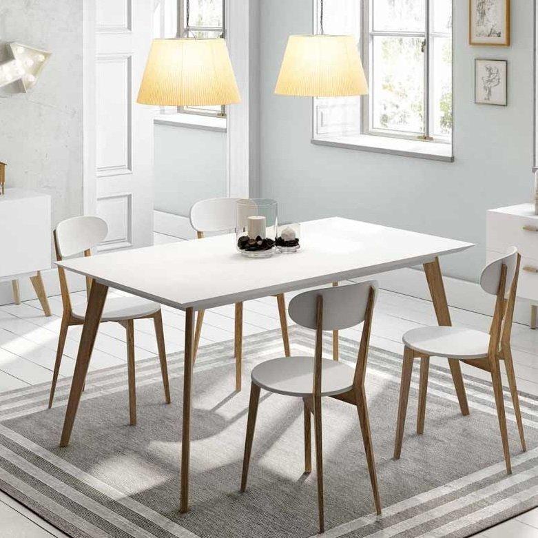 Mesa nordica base madera tapa blanca con 4 sillas nordicas for Mesa blanca y madera