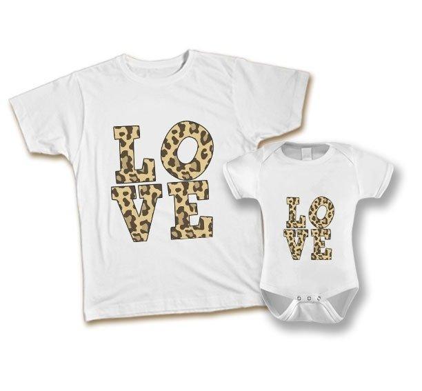 9b65f8f199d8c Kit Tal Mãe Tal Filha Love Animal Print Camiseta e Body ou Camiseta Infantil