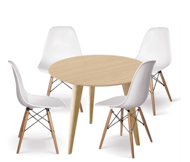 Mesas redondas con sillas for Sillas altas para comedor