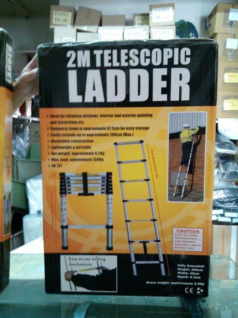 Escalera telescopica extensible de aluminio tl20 for Escalera aluminio telescopica extensible