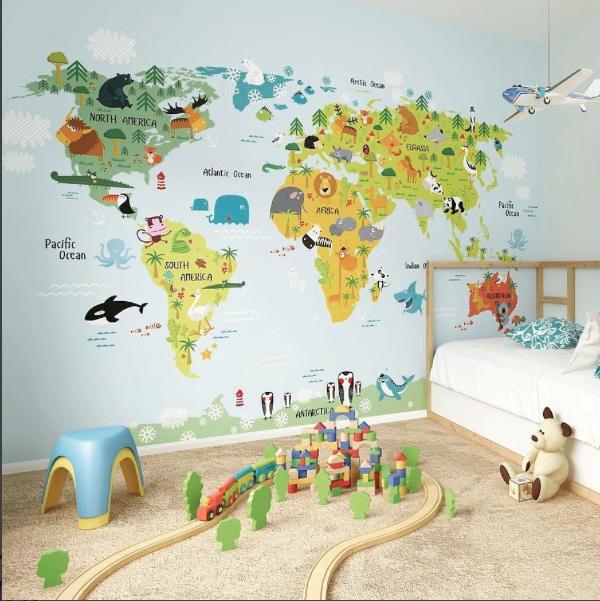 Mural mapamundi animales comprar en guardiana - Mural mapa mundi ...