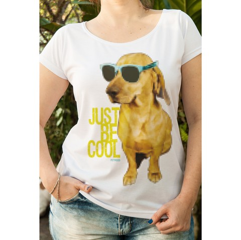 T-Shirt Feminina Cachorro Just Be Cool