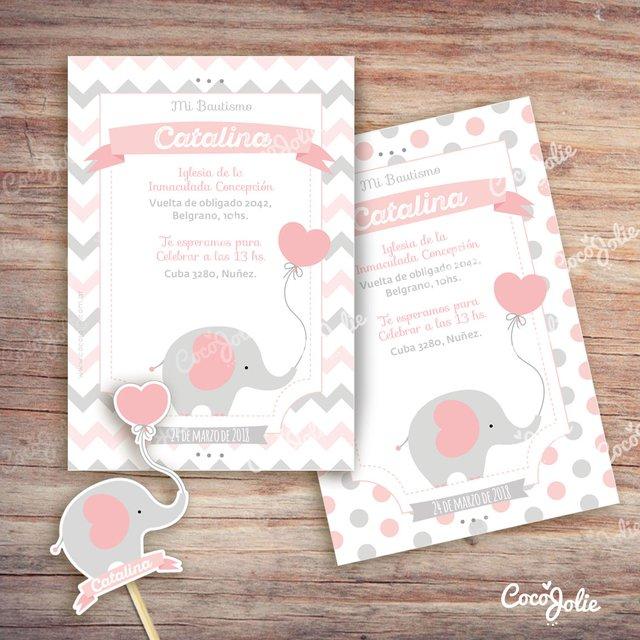 Kit Elefantito Rosa y Gris. Imprimible Personalizable