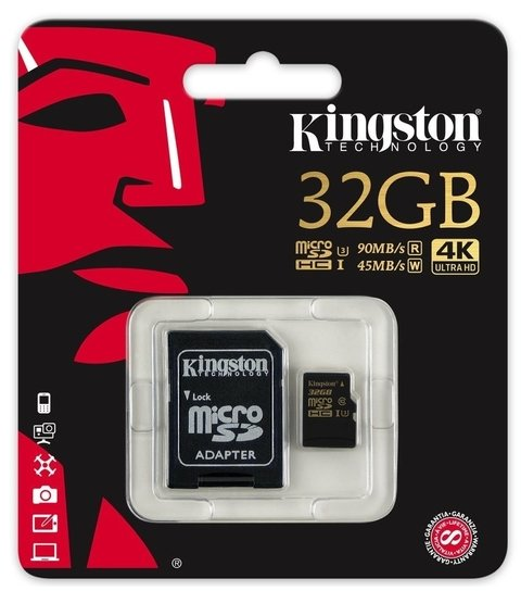 Memoria Kingston Micro SD 32Gb V30 4K 90Mbps.