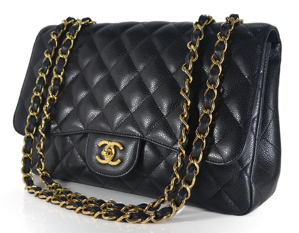 Bolsa Dourada Com Corrente : Bolsa chanel jumbo flap caviar corrente dourada