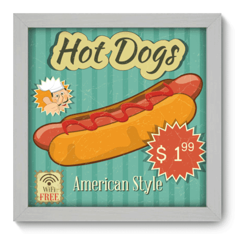 Quadro Decorativo - Hot Dogs - 038qdcb