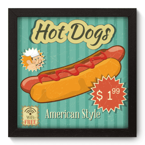 Quadro Decorativo - Hot Dogs - 038qdcp