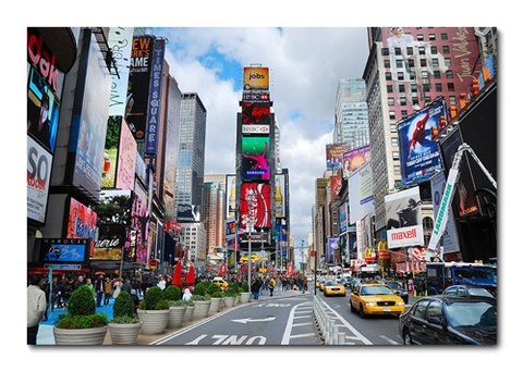 Placa Decorativa - Times Square - New York - 0501plmk