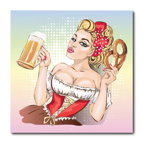Placa Decorativa - Pin-up - Cerveja - 0545plmk