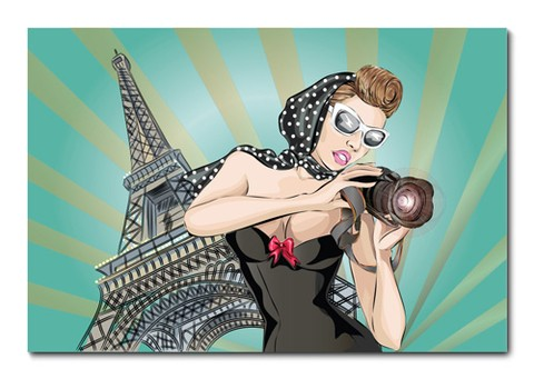 Placa Decorativa - Pin-up - Paris - 0548plmk