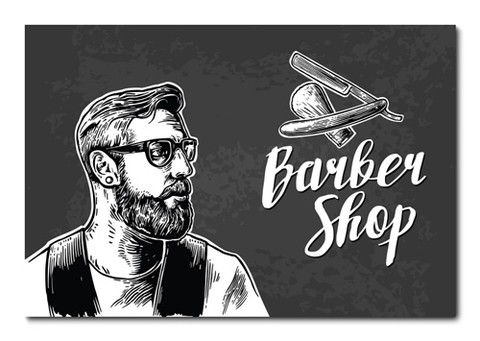 Placa Decorativa - Barber Shop - Barbearia - 0691plmk