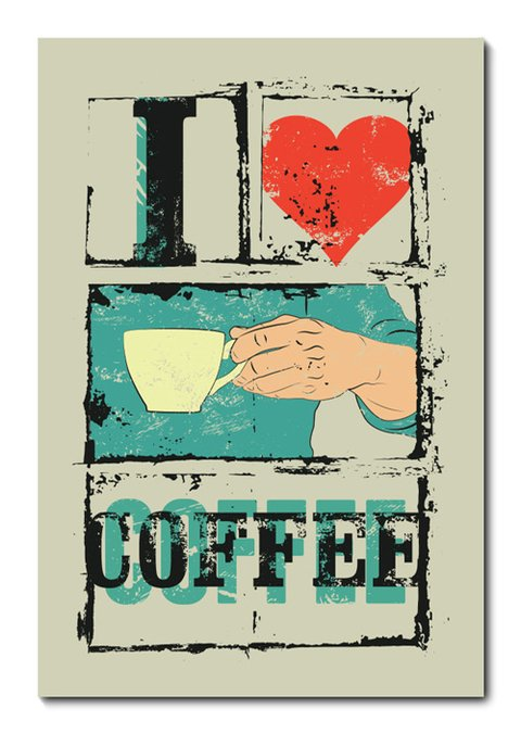 Placa Decorativa - I Love Coffee - 0765plmk