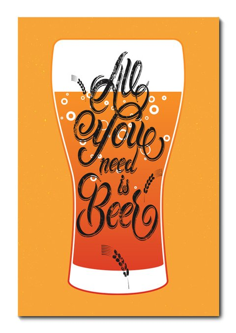 Placa Decorativa - All You Need Is Beer - 0775plmk