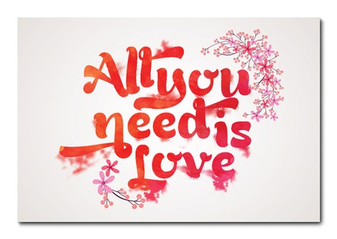 Placa Decorativa - All You Need Is Love  - 0837plmk