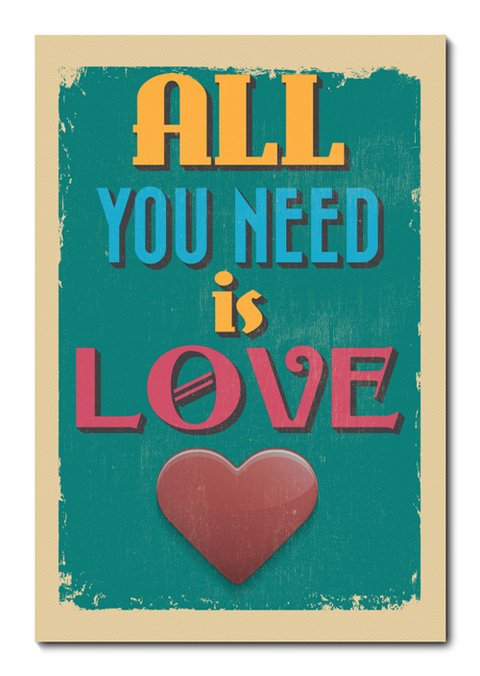 Placa Decorativa - All You Need Is Love  - 0839plmk