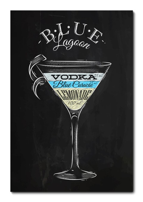Placa Decorativa - Drink Blue Lagoon - 0963plmk