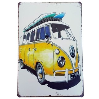 Placa de Metal Decorativa Kombi Surf