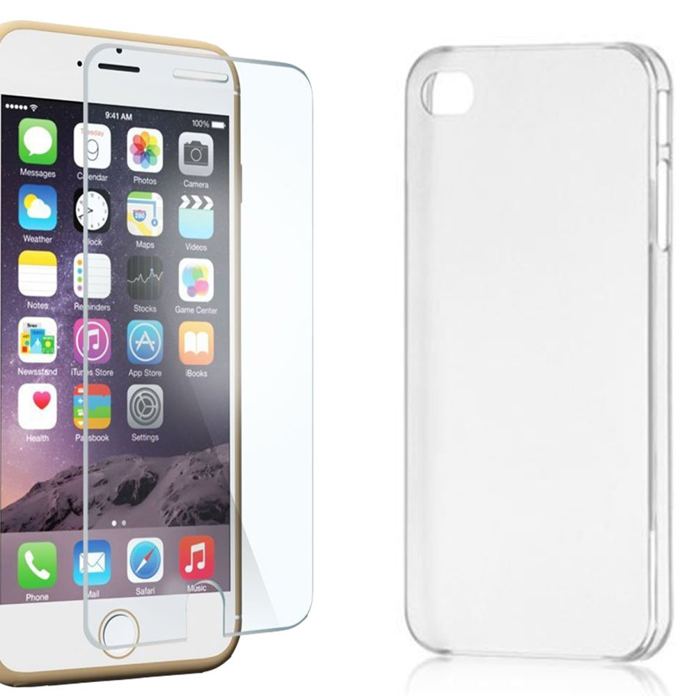 Capinha Capa Case para iPhone 5 / 5C / 5S em TPU Ultrafino Silicone Transparente e Película de Vidro Promoção