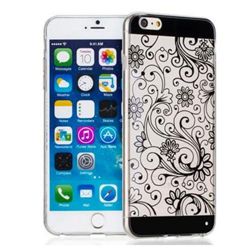 Capa para iPhone 6 Plus Flexível Ultrafina Estampada Preta