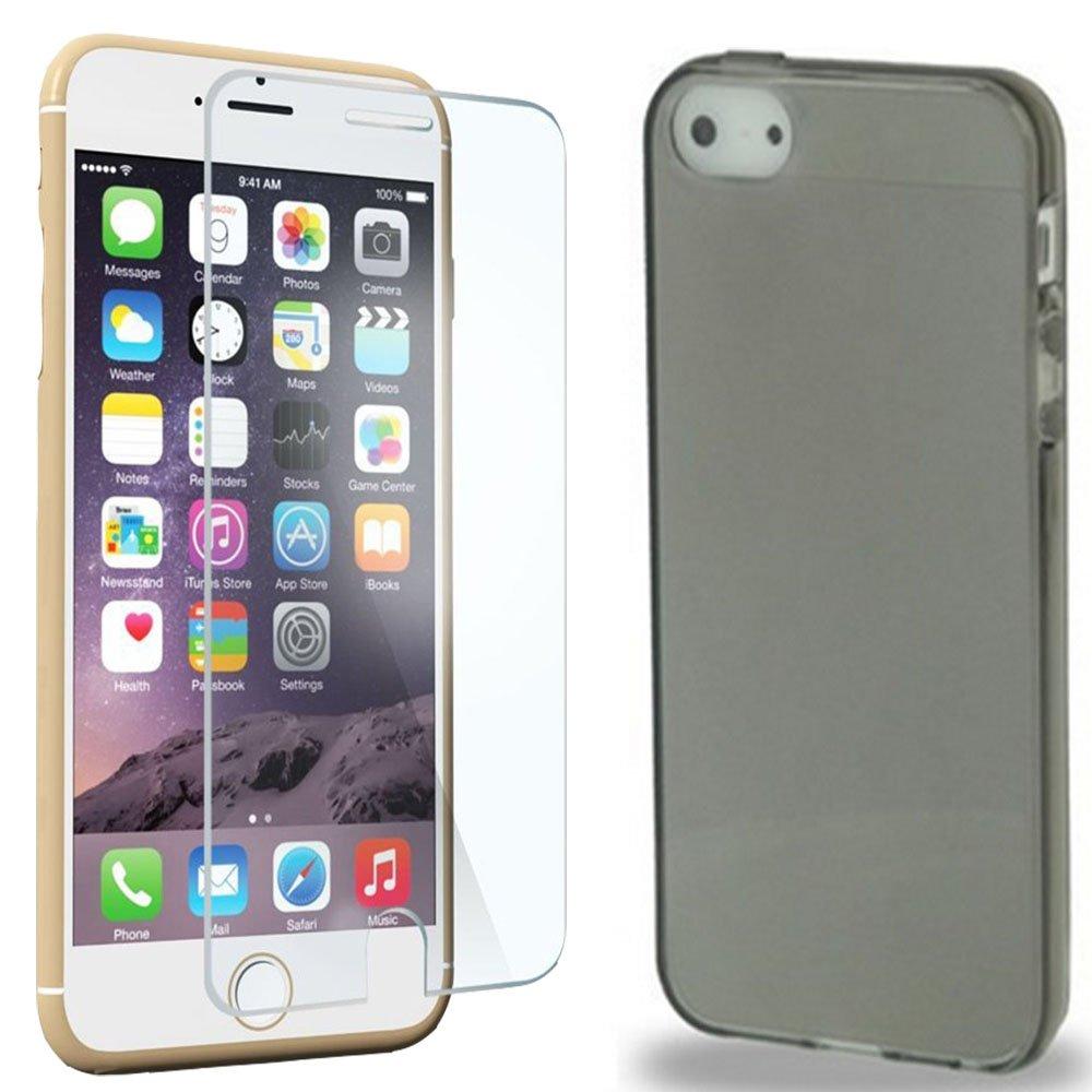 Capa Case para iPhone 5 / 5C / 5S em TPU Ultrafino Silicone 5 / C / S e Película de Vidro Promoção