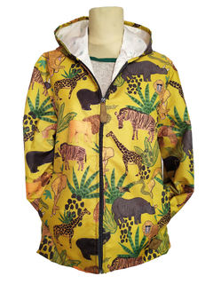 Campera Impermeable Animales Mostaza